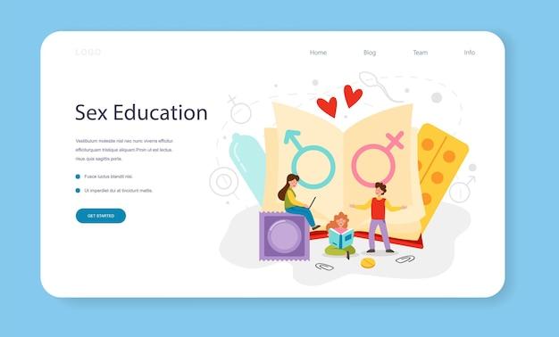 Banner web di educazione sessuale o lezione sulla salute sessuale della pagina di destinazione