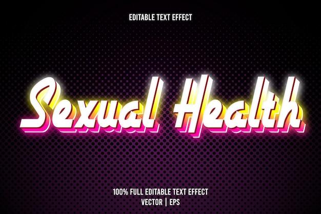 Effetto di testo modificabile per la salute sessuale 3 dimensioni in rilievo in stile neon