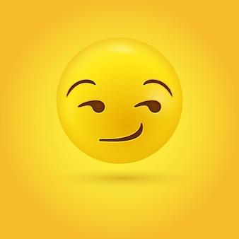 Faccina emoji sogghignante sessuale che guarda al lato in moderno - emoticon sorriso suggestivo o flirtare compiaciuto Vettore Premium