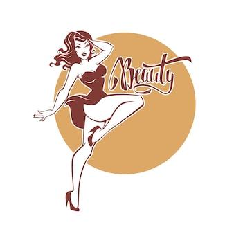 Ragazza pinup retrò sexy e bellezza e bellezza scritta per il tuo logo o design dell'etichetta