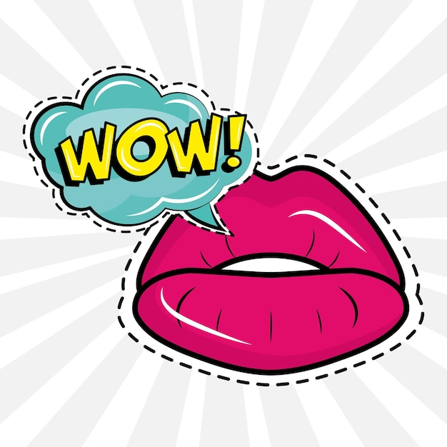 Labbra femminili sexy con wow parola pop art sticker
