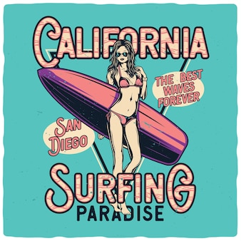 Ragazza sexy in bikini con tavola da surf