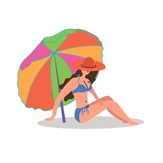 Il cappello da ragazza sexy prende il sole sulla spiaggia sotto la sedia a sdraio turismo di massa ispira a viaggiare Vettore Premium