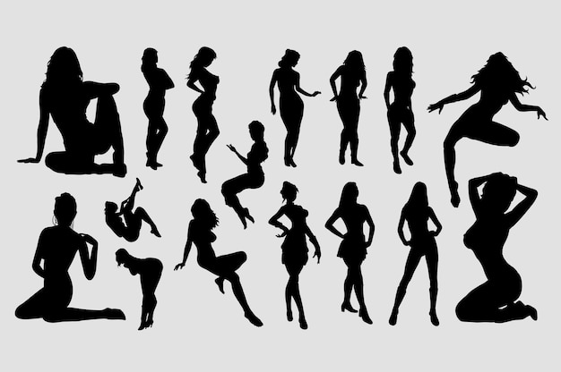 Silhouette di attività di ragazze sexy