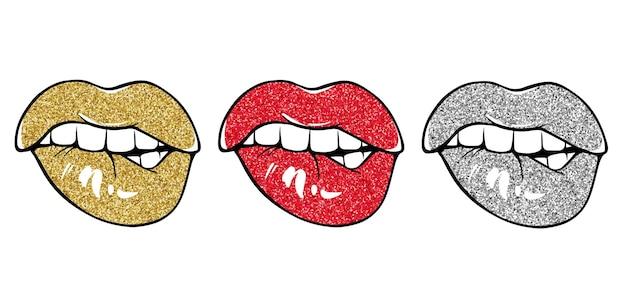 Labbra sexy, morditi il labbro. mordere le labbra. labbra femminili con rossetto glitter rosso, dorato e argento. stile di schizzo. illustrazione vettoriale isolato su bianco. eps10
