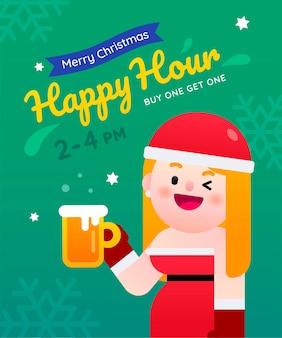 Donna sexy della santa che celebra per l'happy hour di natale compra uno prendi una birra