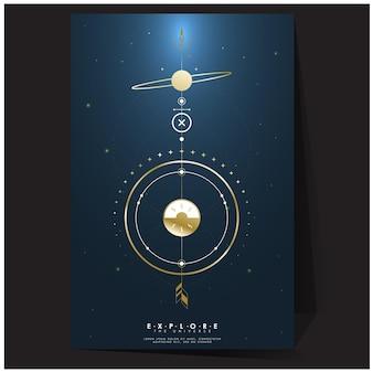 Sfumature di poster geometrici dorati con spazio mesh sfumato esplorano i modelli di sfondo dell'universo