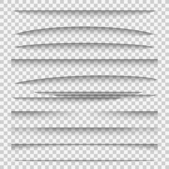 Divisori d'ombra. gruppo di schede del modello di bordo del bordo della pagina web del divisore di effetti ombra del pannello di linea di carta, elementi della cornice di web