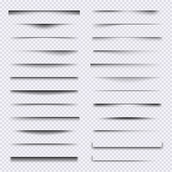 Divisori di ombre. insieme di vettore di effetti di sovrapposizione di ombre morbide cornici di elementi web realistici. effetto del bordo dell'illustrazione, divisore trasparente della cornice