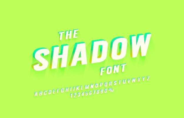 Vettore di simbolo di lettere e numeri di raccolta di set di caratteri ombra