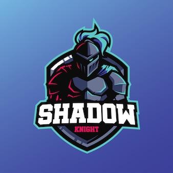 Mascotte del cavaliere ombra per logo sport ed esports