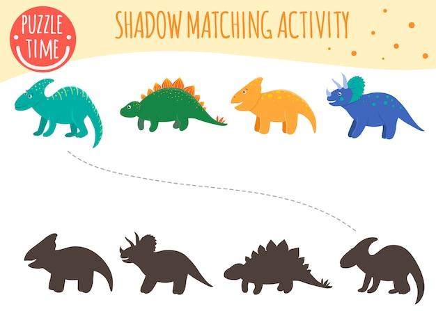 Attività di abbinamento dell'ombra per i bambini. argomento di dinosauri. simpatici dinosauri sorridenti divertenti.