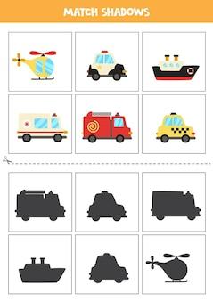 Schede di corrispondenza delle ombre per bambini in età prescolare. mezzi di trasporto del fumetto.