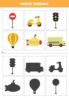 Schede di corrispondenza delle ombre per bambini in età prescolare. mezzi di trasporto carini.