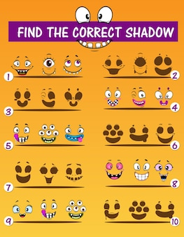 Gioco di abbinamento ombra per bambini con emoticon mostro. puzzle educativo vettoriale per trovare il modello di ombra corretto con divertenti emoji dei cartoni animati di vampiri, alieni e ciclopi, orchi e mutanti
