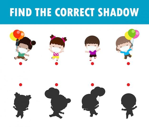 Shadow matching game per bambini, gioco visivo per bambini. colleghi l'immagine dei punti, i bambini felici che indossano la maschera di protezione proteggono il covido 19 di coronavirus, illustrazione isolata istruzione.