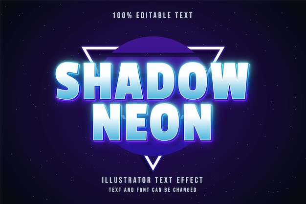 Ombra al neon, effetto di testo modificabile 3d stile di testo al neon viola gradazione blu