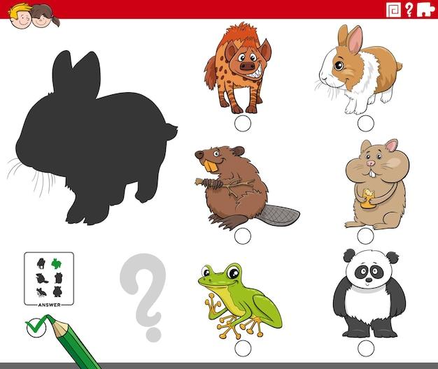 Gioco di ombre con animali dei cartoni animati