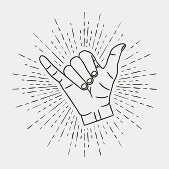 Shaka - gesto della mano surf con sunburst vintage. illustrazione vettoriale.