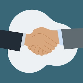 Stretta di mano di due soci in affari. saluti all'incontro. simbolo di accordo, consenso. illustrazione piatta vettoriale