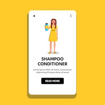 Bottiglia di shampoo condizionatore che mostra donna