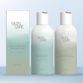 Bottiglia con tappo vibrante per shampoo e balsamo con stampa astratta sfumata. scatola di cartone per bottiglie.