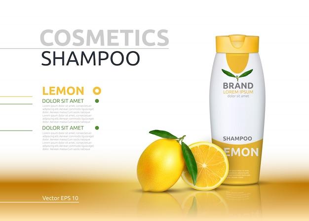 Shampoo cosmetico realistico imbottigliare l'essenza arancione pacchetto.