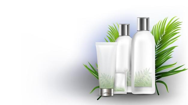 Shampoo diversi pacchetti e ramo di albero vettore. flacone vuoto per shampoo naturale, tubo e bustina. pianta foglie verdi ingrediente cosmetico biologico modello realistico 3d illustration