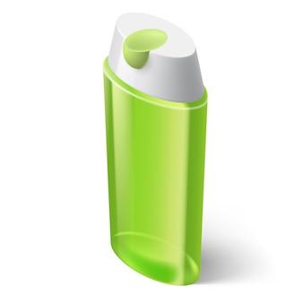 Shampoo icona verde in stile isometrico su sfondo bianco