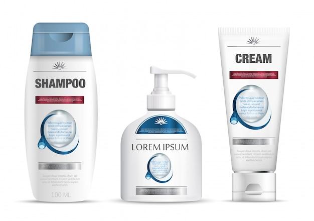 Imballaggio shampoo, tubo di crema, disegno del modello di bottiglia di sapone. modello di marchio cosmetico. prodotti per la cura del corpo. illustrazione.