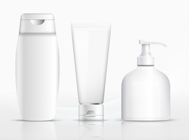 Imballaggio shampoo, tubo di crema, disegno del modello di bottiglia di sapone. illustrazione. shampoo per imballaggio, bottiglia di sapone, modello di tubo di crema