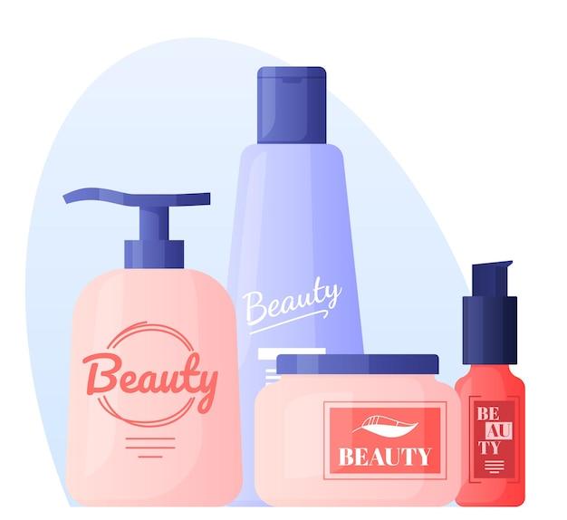 Shampoo, lozioni, oli, creme, cura. cura dei capelli e del viso.