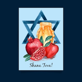 Concetto di biglietto di auguri shana tova
