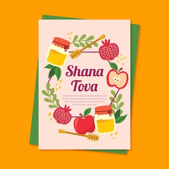 Cartolina d'auguri di shana tova con metà delle mele