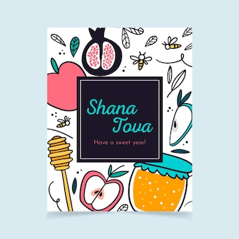 Cartolina d'auguri di shana tova Vettore Premium