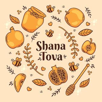 Shana tova lettering con scarabocchi