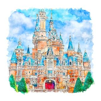 Illustrazione disegnata a mano di schizzo dell'acquerello del parco del castello di shanghai