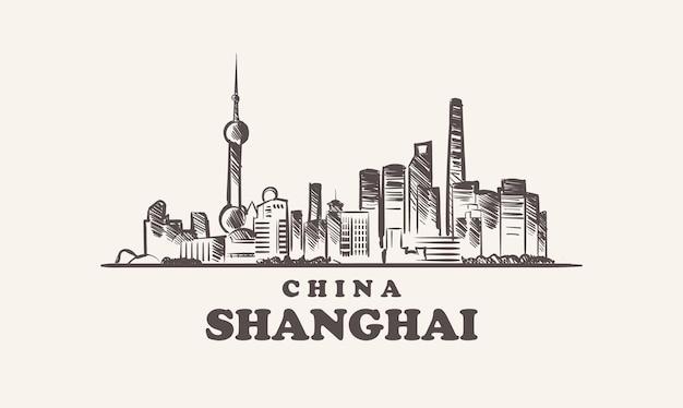 Illustrazione disegnata a mano della cina di schizzo di paesaggio urbano di shanghai