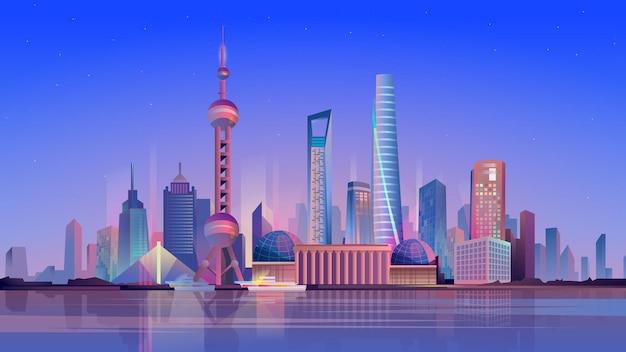 Illustrazione di stile del fumetto piatto di shanghai di sfondo web