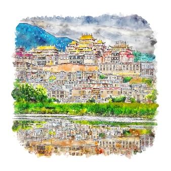 Illustrazione disegnata a mano di schizzo dell'acquerello della cina di shangri la yunnan