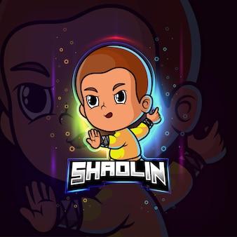 Mascotte shaolin esport logo colorato