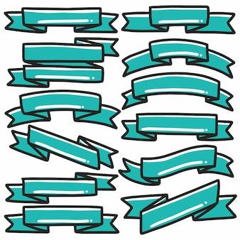 Forma nastro verde icona banner disegnati a mano doodle arte e elemento di design