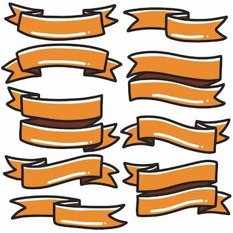 Forma nastro arancione icona banner disegnati a mano doodle arte e elemento di design.