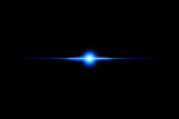 Forma linea singola fascio di luce spotlight star linee al neon blu con effetti di luce isolati sul nero