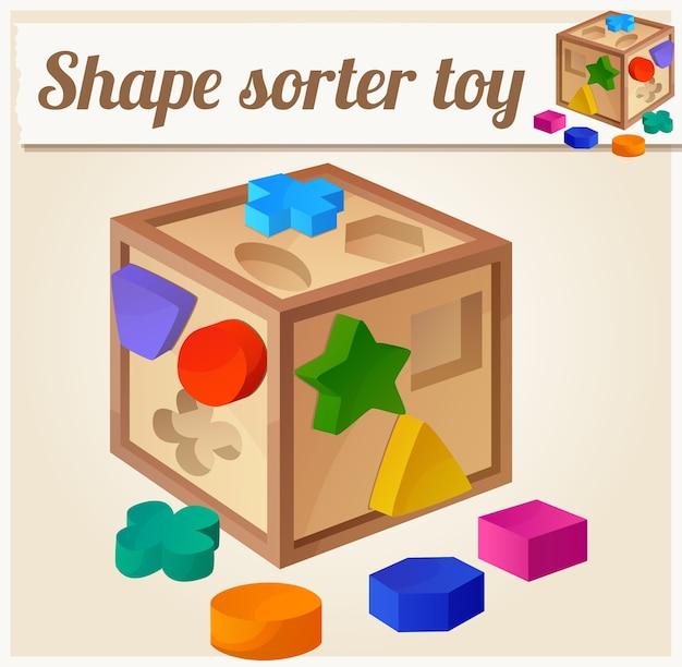 Giocattolo selezionatore di forme. illustrazione del fumetto. serie di giocattoli per bambini