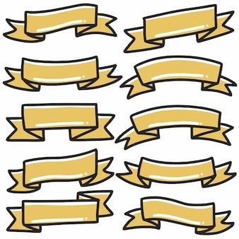 Forma nastro giallo icona banner disegnati a mano doodle arte e elemento di design