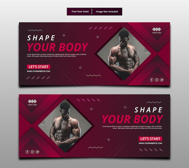 Modella il tuo banner corpo, modello di layout grafico di fitness.