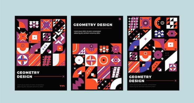 Forme su copertine di affari geometrici sfondo scuro Vettore Premium