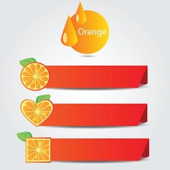 Forme di frutta arancione - illustrazione vettoriale su sfondo bianco