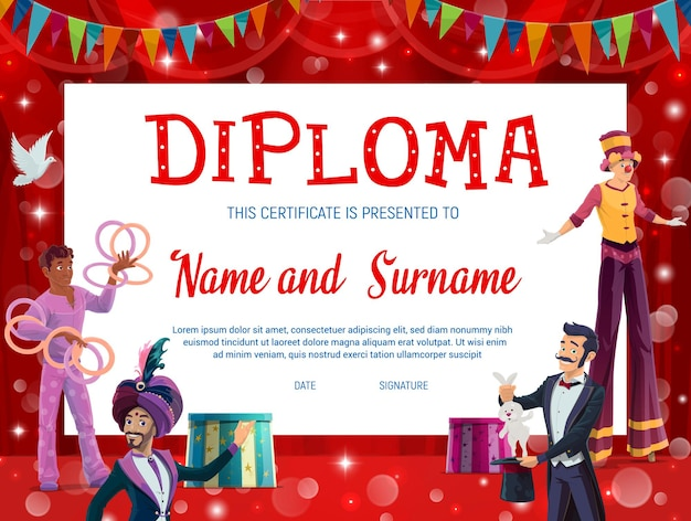 Certificato di diploma di istruzione per bambini del circo shapito